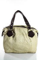 Pauric Sweeney Yellow Dark Brown Python Leather Trimmed Shoulder Handbag