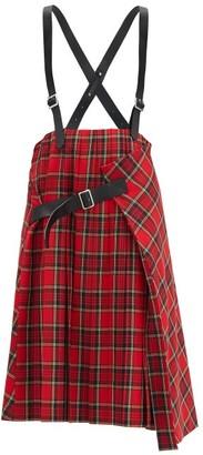 Noir Kei Ninomiya Crossover-braces Pleated Tartan Wool-blend Skirt - Red