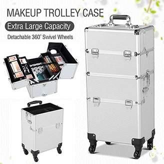 Yaheetech 2-wheel 3-in-1 Professional Multifunction Artist Rolling Trolley Makeup Beauty Train Case Cosmetic Organizer W/shoulder Straps ()