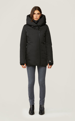Soia & Kyo ANNALISA classic down coat with nylon puffer bib and collar
