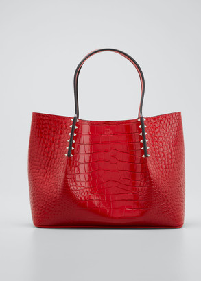 Christian Louboutin Cabarock Small Mock-Croc Spiked Shopper Tote Bag