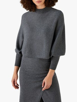 Pure Collection Batwing Crop Jumper, Charcoal