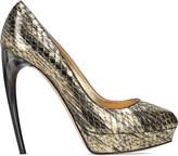 Alexander McQueen Horn heel metallic snakeskin heeled pumps