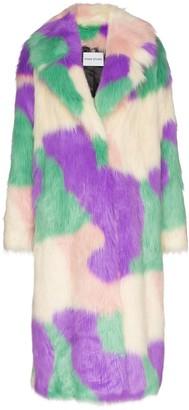 STAND STUDIO Clara faux fur camouflage coat