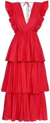 True Decadence Hot Pink Linen Pleated Tiered Midaxi Dress