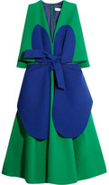 DELPOZO Two-tone Cotton-crepe Dress - Green