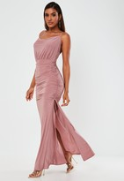 Missguided Pink Slinky Ruched Cowl Neck Maxi Dress