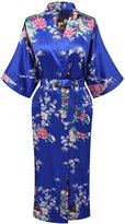 Kissria Women's Robes Peacock and Blossoms Kimono Satin Nightwear Long Style
