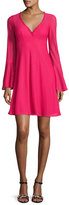 Nanette Lepore Long-Sleeve Mesh Fit-and-Flare Dress, Pink