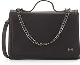 Halston Leather Shoulder Bag with Chain Detail, Black