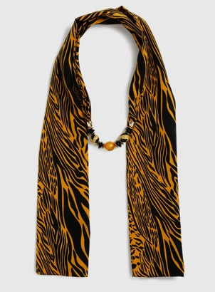 Evans Orange Animal Print Beaded Scarf