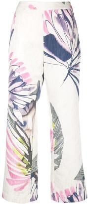 Josie Natori Botanical Palm jacquard pants