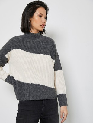 Mint Velvet Grey & Cream Chunky Jumper