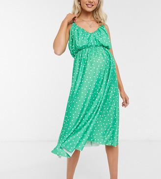 ASOS DESIGN Maternity cami plunge midi dress with blouson top in spot print