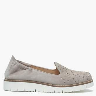 Daniel Yannik Beige Suede Scatter Stud Embellished Loafers