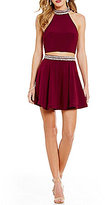B. Darlin Sleeveless Mockneck Two-Piece Fit-and-Flare Dress