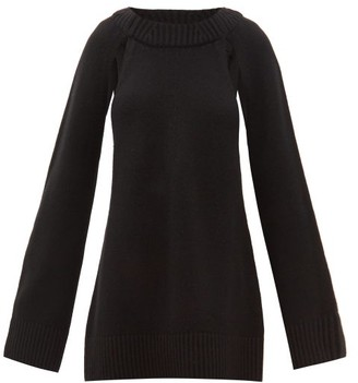 KHAITE Liz Cutout-raglan Sleeve Cashmere Sweater - Black