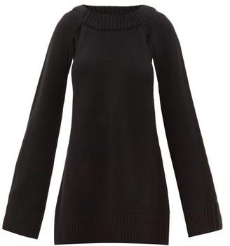 KHAITE Liz Cutout-raglan Sleeve Cashmere Sweater - Womens - Black