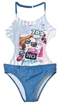 Mayoral Blue Denim Effect and Diamante Girl Cut-Out Swimsuit