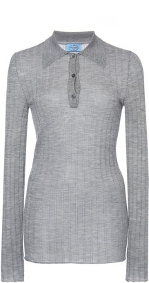Prada Ribbed Knit Cashmere Silk Top