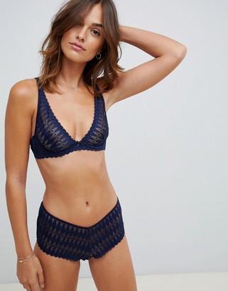 Heidi Klum Intimates high apex lace bra in blue