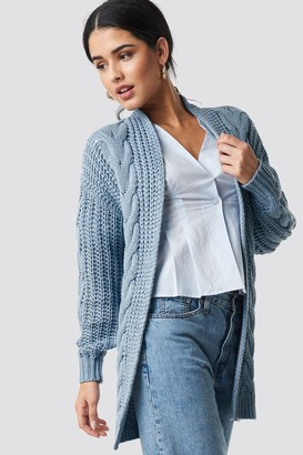 NA-KD Chunky Cable Knit Long Cardigan Blue