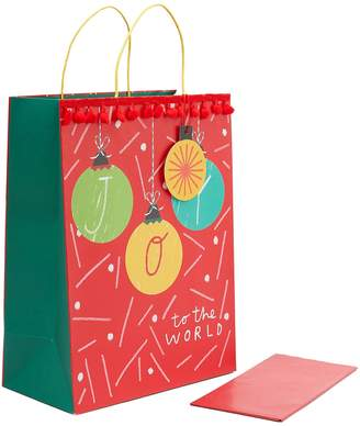Marks and Spencer Large Pom Pom Trimmed Christmas Gift Bag with Tissue Paper