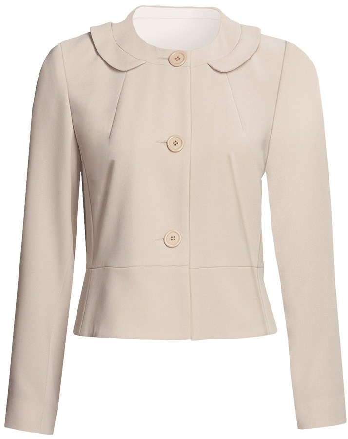 Louben Round Neck Jacket - 3-Button Front (For Women)