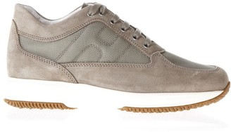 Hogan Interactive Taupe Suede & Nylon Sneakers