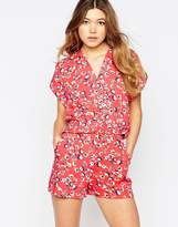 Liquorish Wrap Front Romper In Mini Flower Print