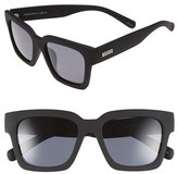 Le Specs Women's 'Weekend Riot' 55Mm Retro Sunglasses - Black Rubber/ Smoke Mono Polar