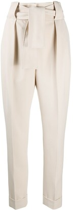 Sara Battaglia Tie-Waist Tapered Trousers