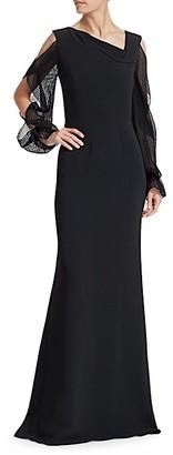 Roland Mouret Cannes Split-Sleeve Gown