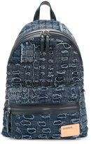 Diesel cat print backpack - men - Cotton/Leather - One Size