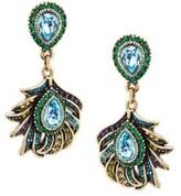 Heidi Daus Crystal Feather Drop Earrings