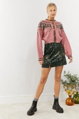 Urban Outfitters Velvet Print Notch Skirt