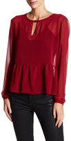 C&C California Margot Loose Long Sleeve Peplum Shirt