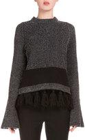 Proenza Schouler Long-Sleeve Fringe-Hem Sweater, Black/Combo