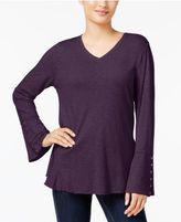 Style&Co. Style & Co Crochet-Trim Flounce Top, Created for Macy's