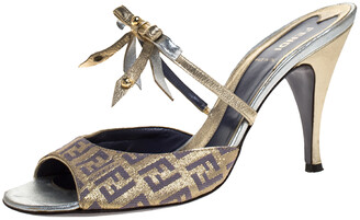 Fendi Multicolor Zucca Canvas and Leather Bow Slide Sandals Size 37.5