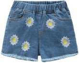 Encontrar Little Girls Embroidery Frayed Hem Denim Shorts