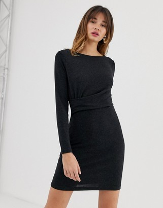 Vero Moda knitted twist waist mini dress in grey