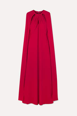 Marchesa Cape-effect Crepe Gown - Red