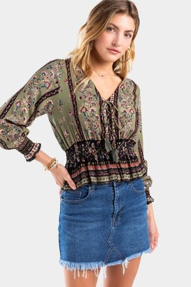francesca's Nadeen Lace-Up Medallion Blouse - Ivory