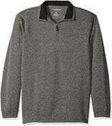Haggar Men's Long-Sleeve In-Motion Soft Brushed Back Tweed Quarter-Zip Sweater with Faux-Suede Trim