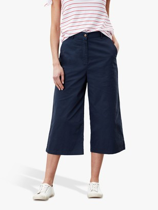 Joules Compton Wide Leg Cropped Chinos, French Navy