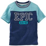 Osh Kosh Boys 4-7 Colorblock Football-Seam Embroidered Tee
