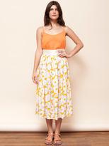 Vintage Mid-Length Floral Print Silk Skirt