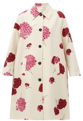 La DoubleJ Boxy Floral-print Wool-blend Coat - White Print