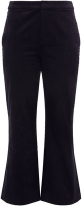 Joie Duke Stretch Cotton And Modal-blend Velvet Kick-flare Pants